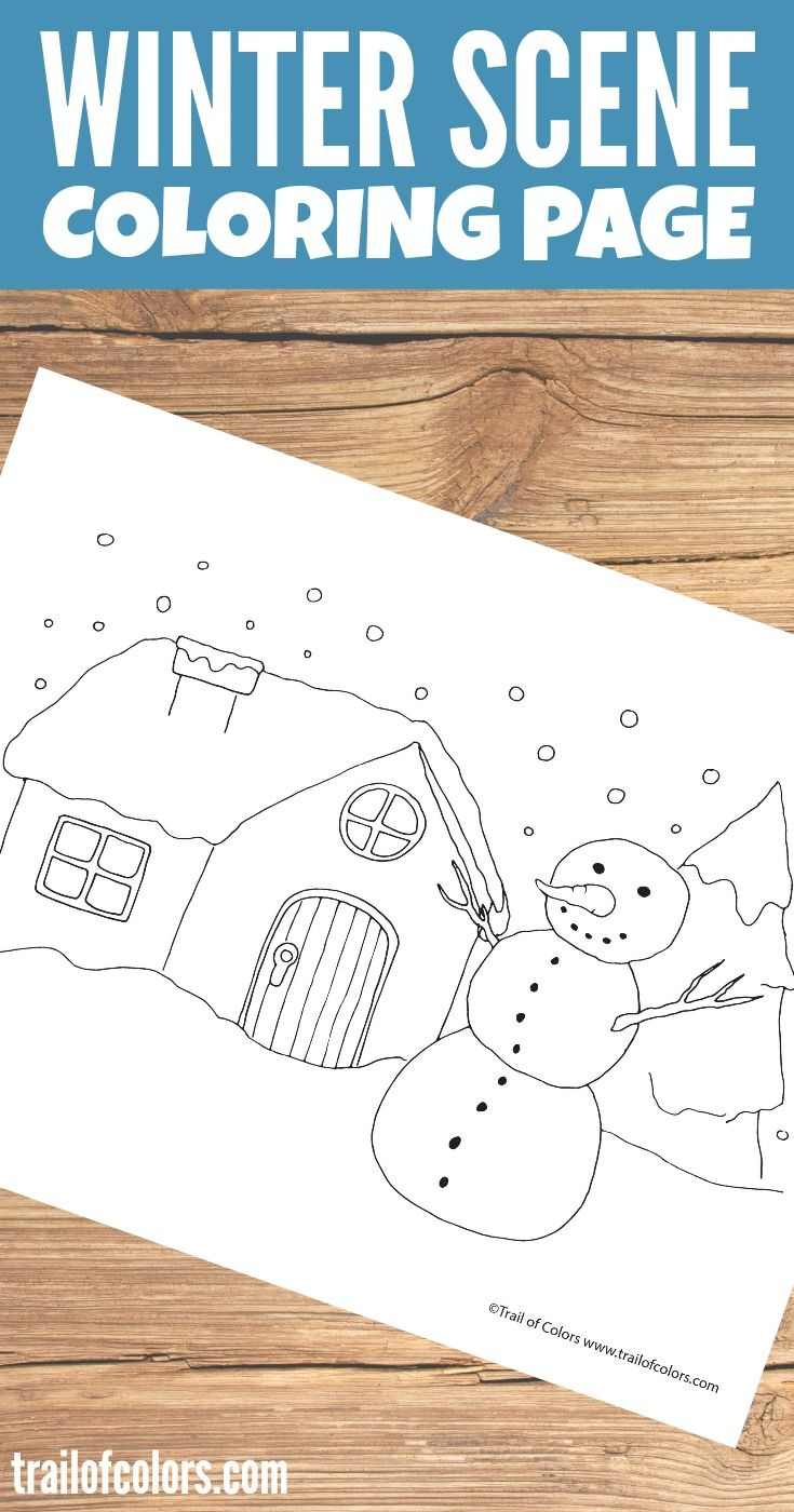 Winter Scene Coloring Page for kids | Para niños y Niño