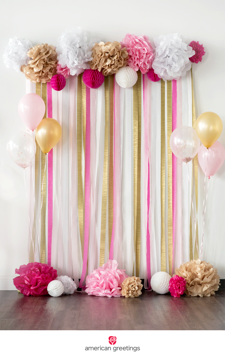 Pink And Gold Tissue Paper Pom Pom Backdrop Graduation