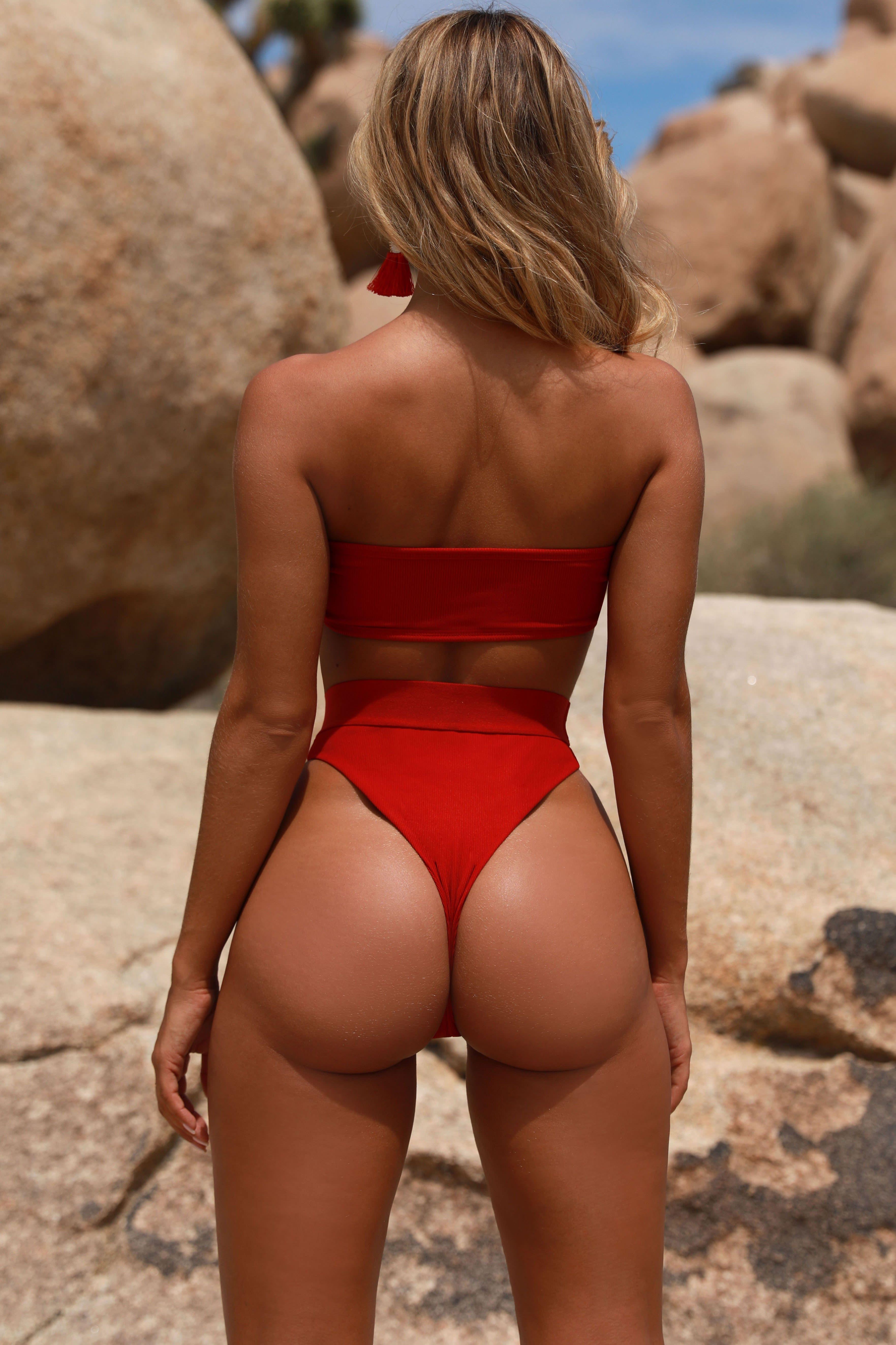 f91da5561ede56 Welcome To Miami Ribbed High Leg Thong Bikini Bottoms in Red ...