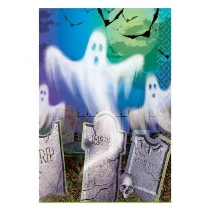 """Mostly Ghostly Plastic Tablecover by Amscan, Inc.. $6.49. Mostly Ghostly Plastic Tablecover measures 54"""" x 102"""". The tablecover is leak proof and its """"Satin"""" finish drapes like linen."""