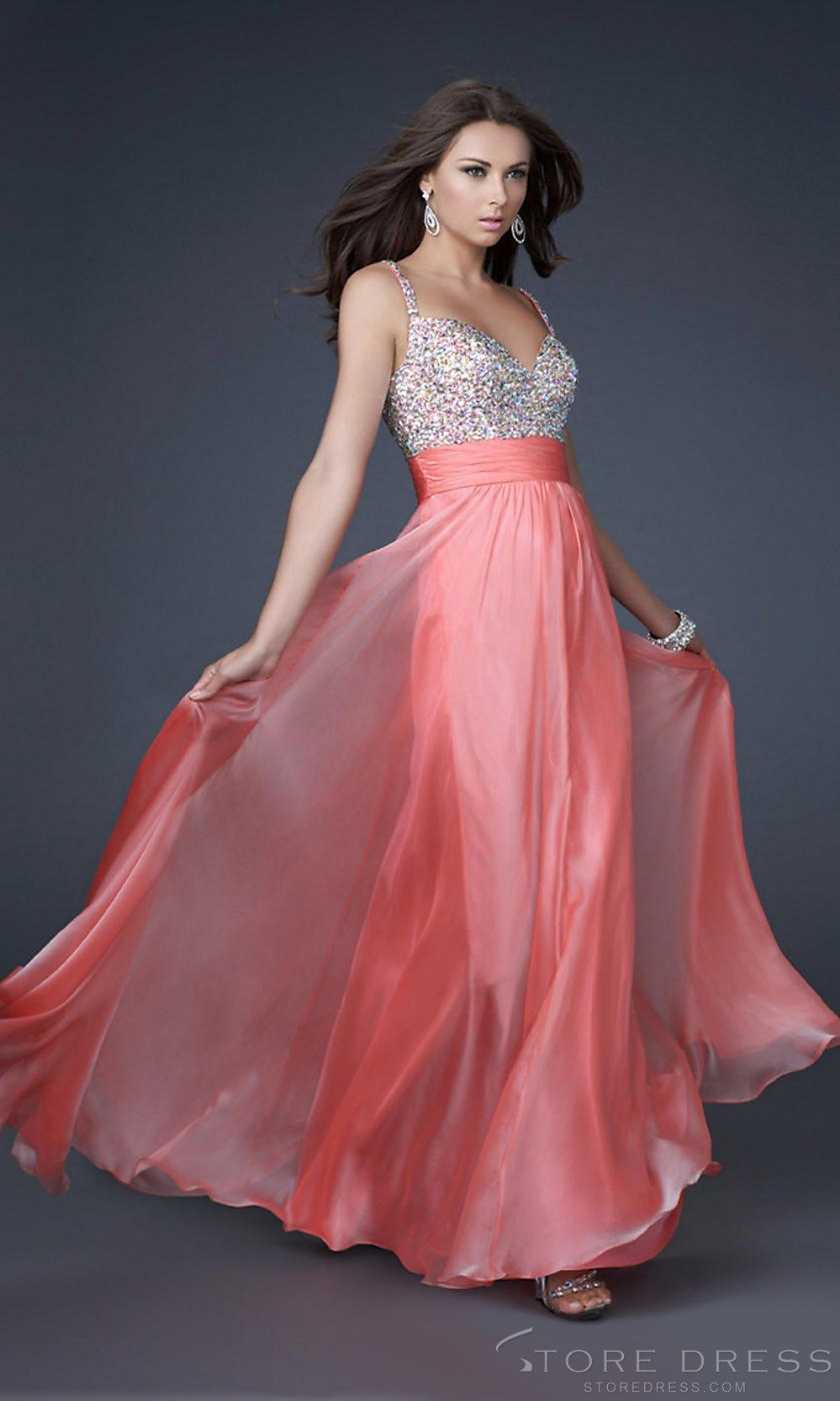 A-line Spaghetti Straps Floor-length Chiffon Evening /Prom Wedding ...