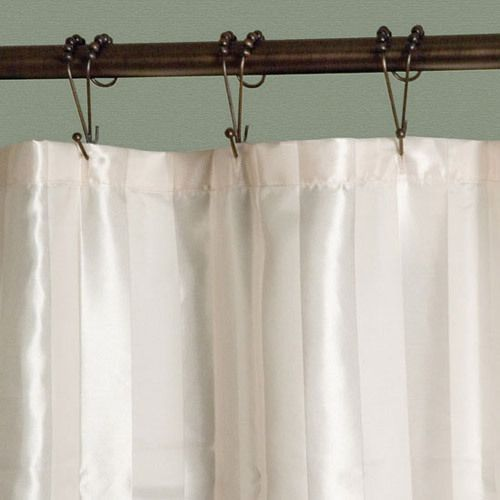 this narrow satin stripe polyester shower curtain is ideal for small shower stalls perfect for