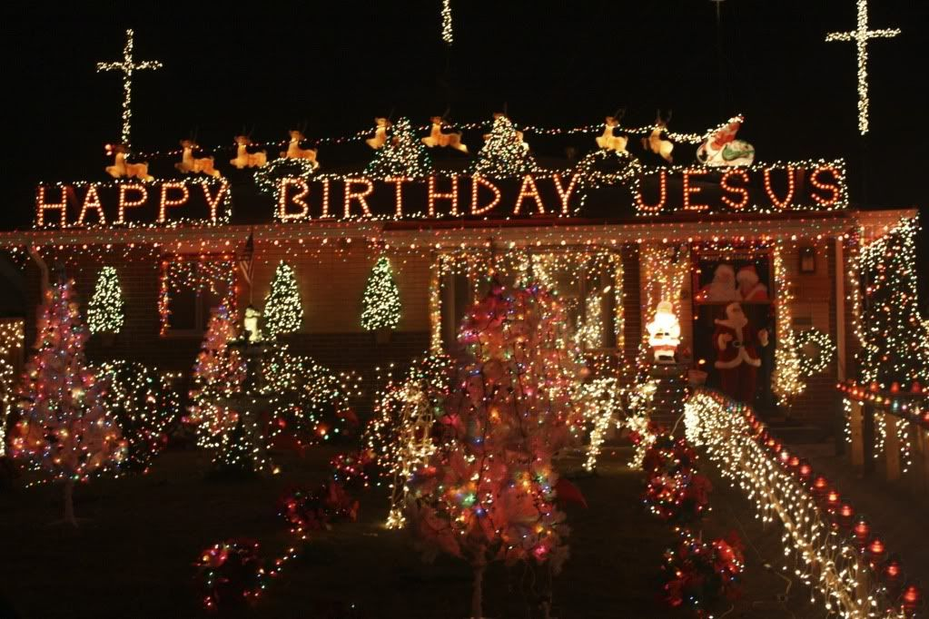 Happy Birthday Jesus Message ~ Lighted birthday message for the universe to view holiday scenes