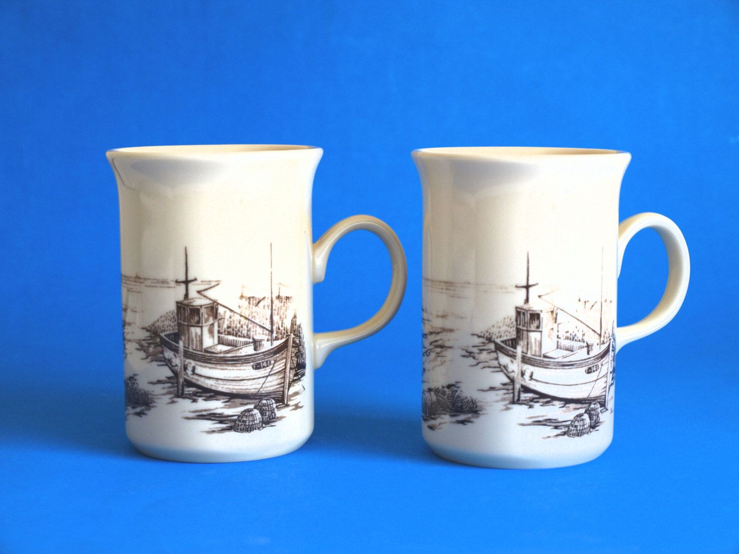 Churchill Pottery Fishing Boat Mug - Retro Vintage Trawler Tugboat Fisherman Mug - Two Available - Made in England & Churchill Pottery Fishing Boat Mug - Retro Vintage Trawler Tugboat ...