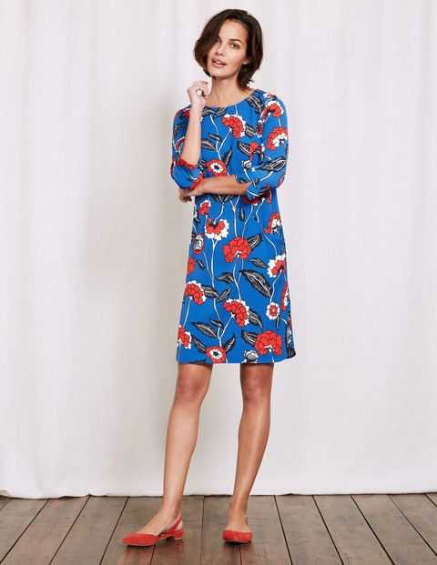 1ddc1c78a83 #Boden Phoebe Jersey Dress Santorini Blue Swans Women #When youre rushing  to get ready, this dress is easy-peasy to wear, and super-comfortable …