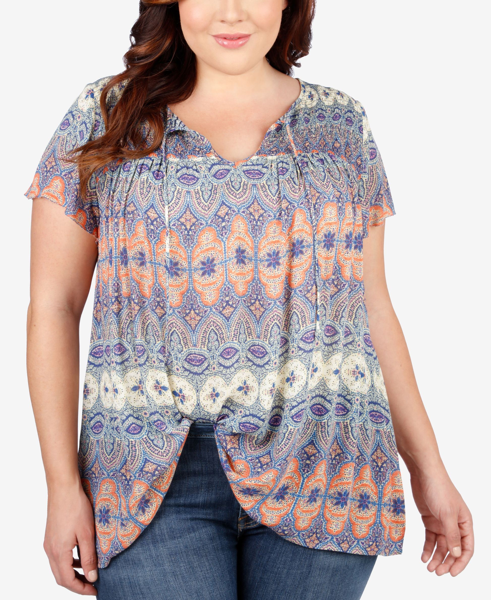 b66cb015c67 Lucky Brand Plus Size Mixed-Print Peasant Top | Products | Tops ...