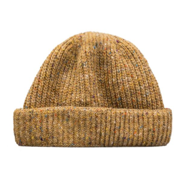 8aad40e7c Irish Donegal Merino Wool Mustard Beanie ($43) ❤ liked on Polyvore ...
