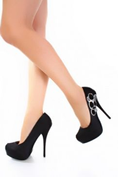 Black Satin Upper Rhinestone Rosette Accent Close Toe Pump