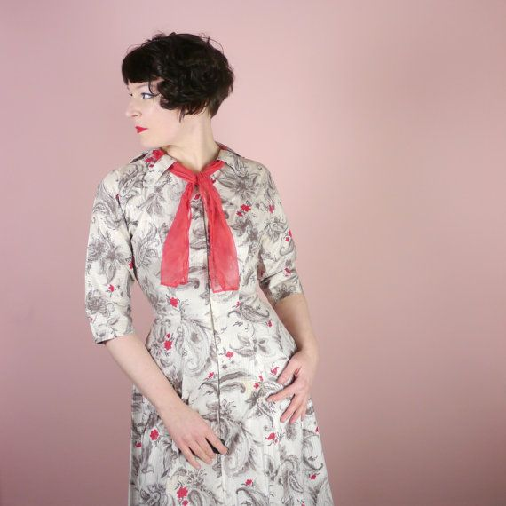 50s long house dress with ZIP up front and attached SHAWL necktie ...