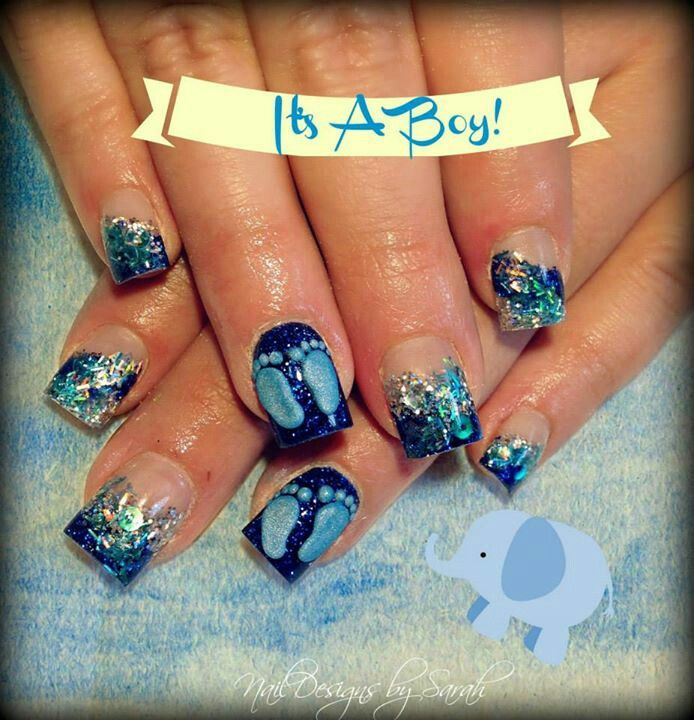 It S A Boy Baby Shower Nails Baby Shower Nails Boy Nails