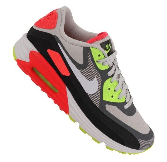 Nike Air Max Lunar90 – Light Ash Grey – Laser Crimson – Volt