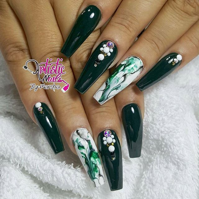 Long coffin deep green nail design with rhinestones and green long coffin deep green nail design with rhinestones and green white marble design beautiful nails prinsesfo Images