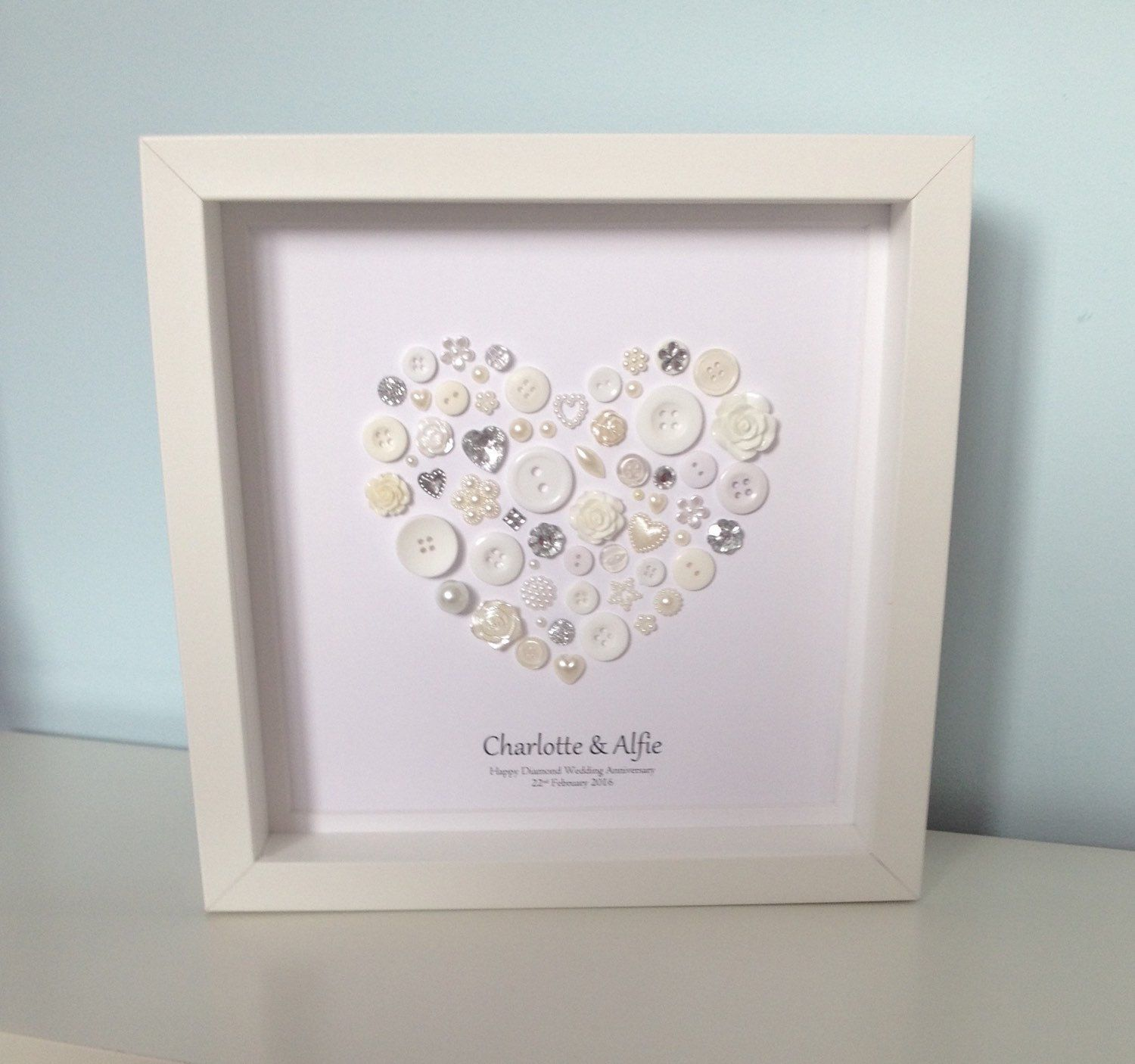Beautiful diamond anniversary button art personalised 60th or 75th beautiful diamond anniversary button art personalised 60th or 75th wedding anniversary engagement gift kristyandbryce Choice Image