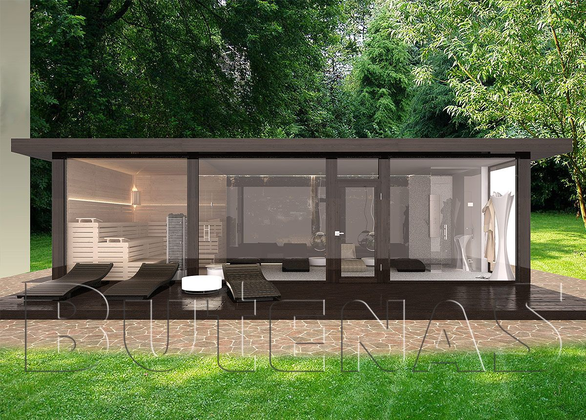 ob modernes wohnhaus aus holz innensauna mit glasfront. Black Bedroom Furniture Sets. Home Design Ideas
