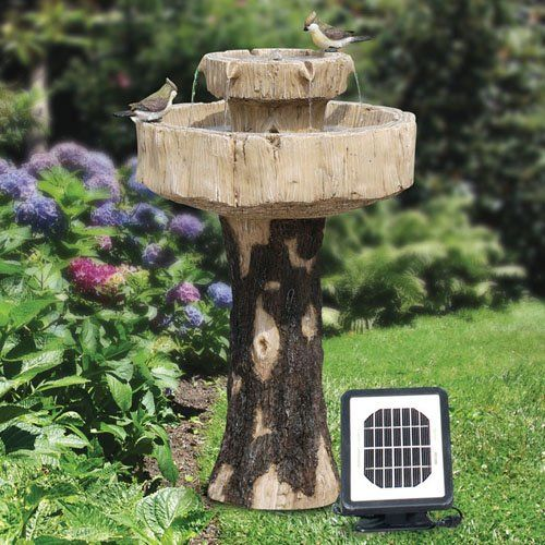 Have To Have It Alpine Solar Rustic Log Fiberglass Bird Bath Fountain 299 99 Bird Bath Bird Bath Fountain Solar Fountain