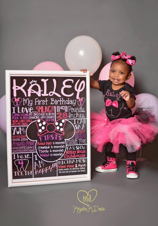Minnie Mouse First Birthday Chalkboard 1st Birthday Chalkboard For