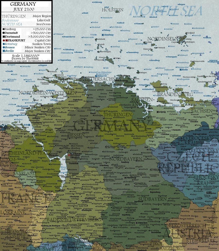 What Germany Would Look Like In  If The Sea Had Risen A - Map of north america and united kingdom