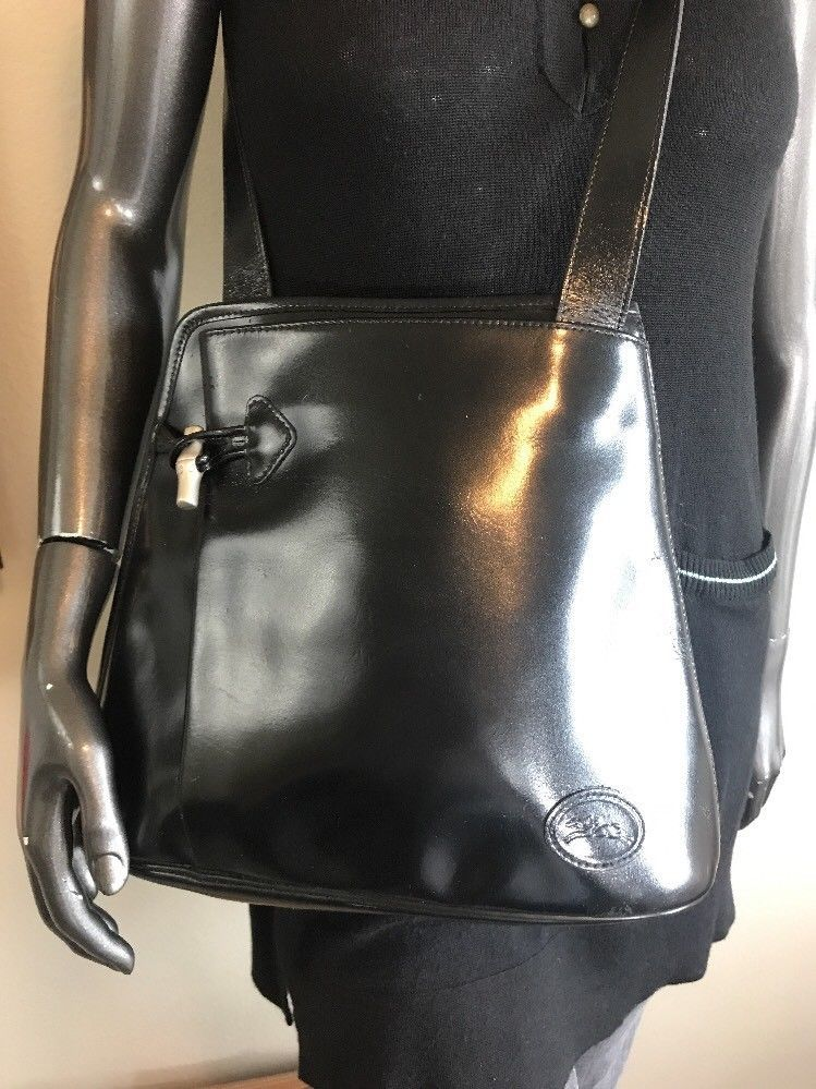 Vintage LONGCHAMP Roseau Black Leather Shoulder Bucket Bag MADE IN FRANCE  9af1b4b596e37