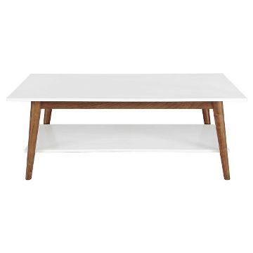 Porter Mid Century Modern Two Tone Coffee Table White Brown 139