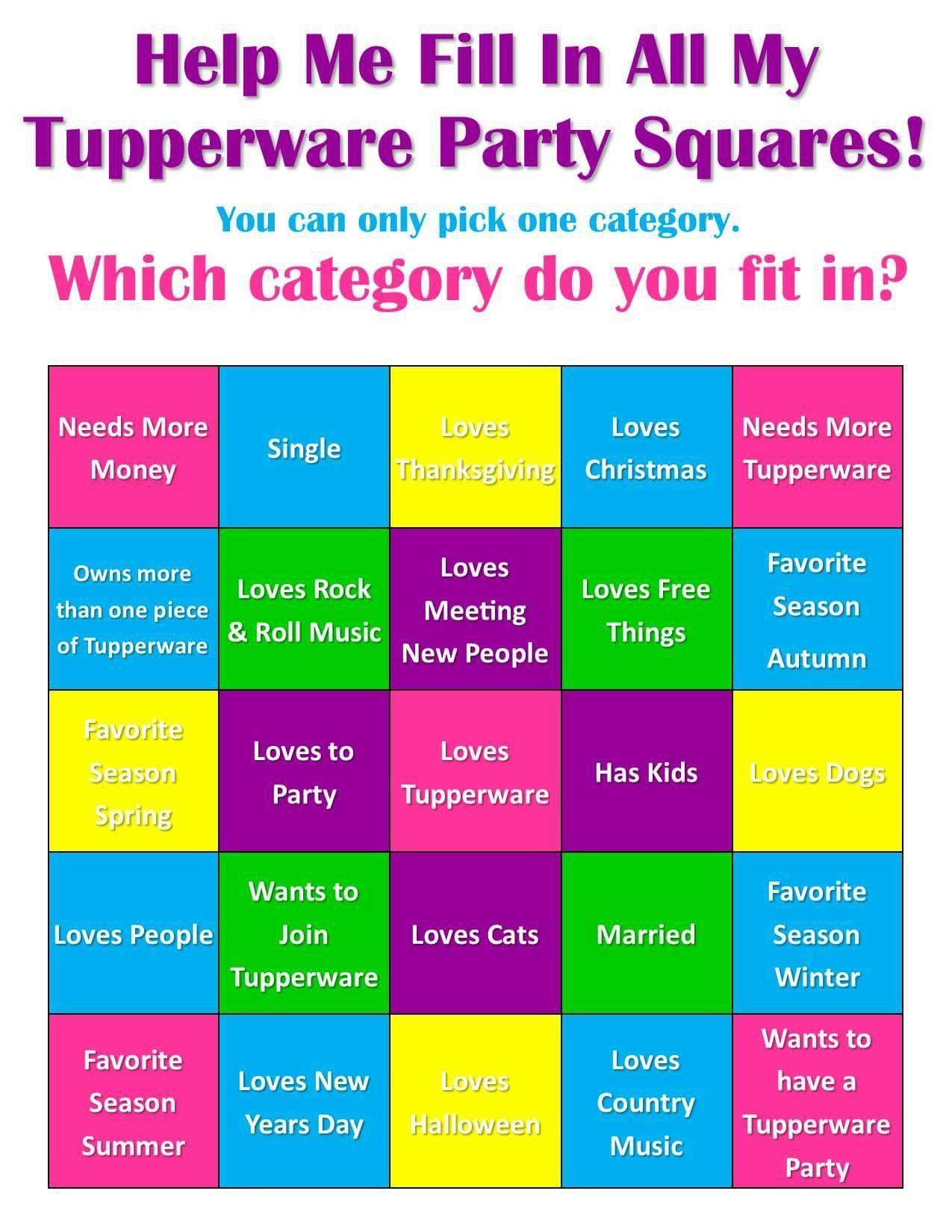 Party ideas tupperware games Fun Games
