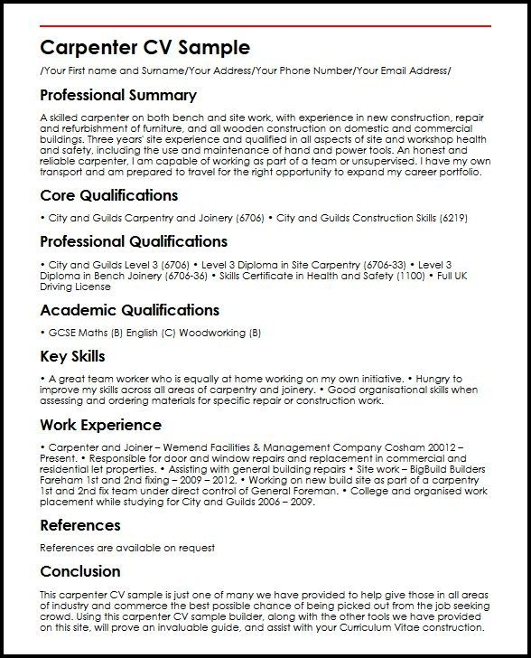 Carpenter Cv Sample Myperfectcv Good Resume Examples Resume Skills Resume Skills Section
