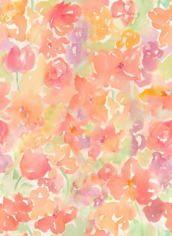 Watercolor Abstract Floral Pattern And Loose Flowers Watercolor
