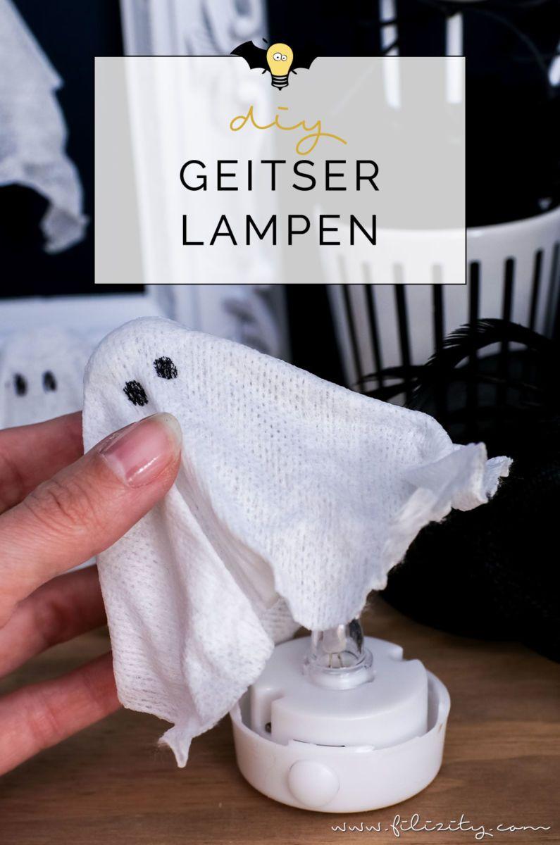 DIY Halloweendeko selber machen: Geister-Lampen und Geister-Anhänger | Filizity.com | Food-Blog aus dem Rheinland #halloweendekobasteln