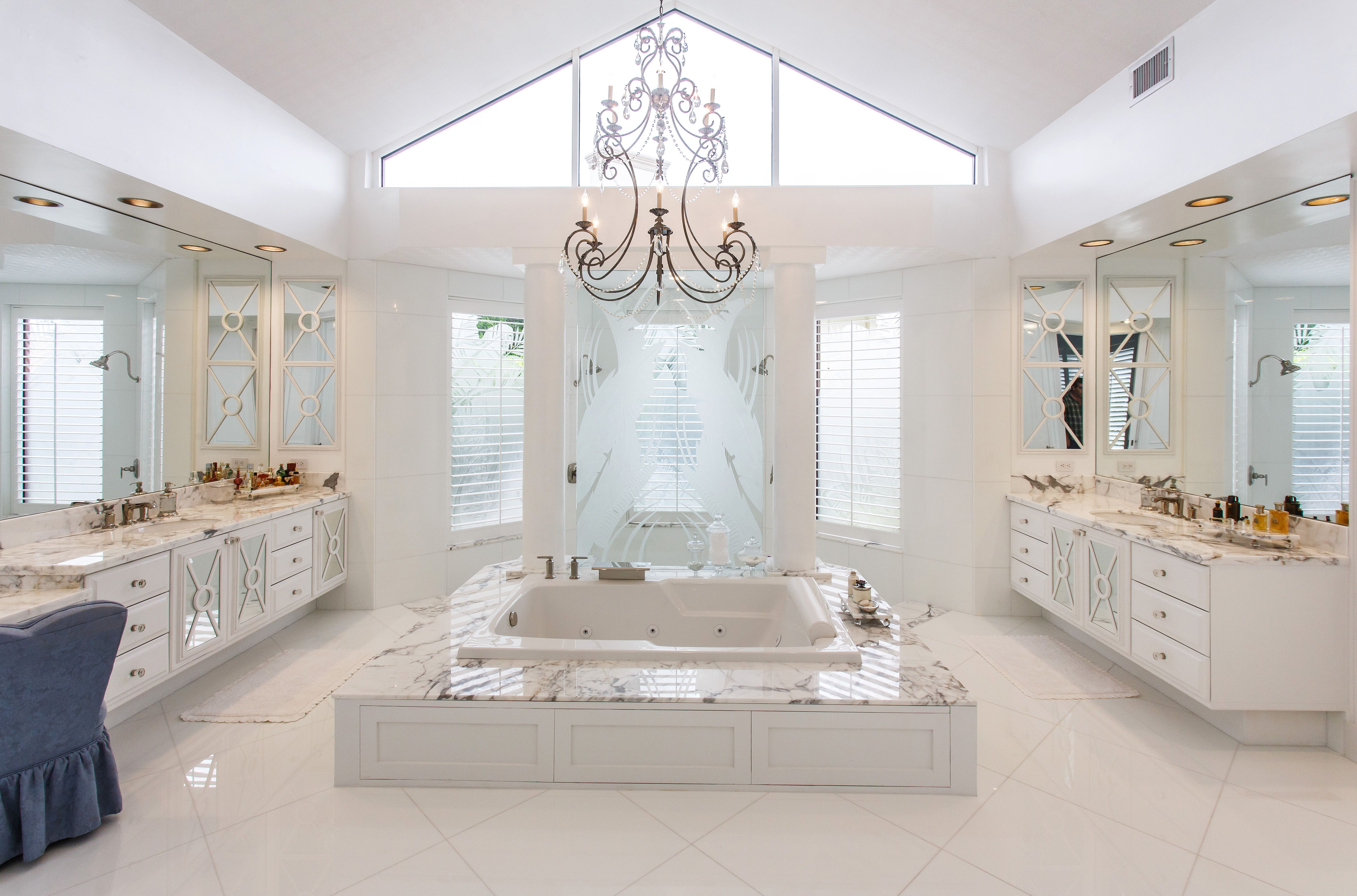 Gorgeous white marble bathroom bathroom marble for Marble master bathroom