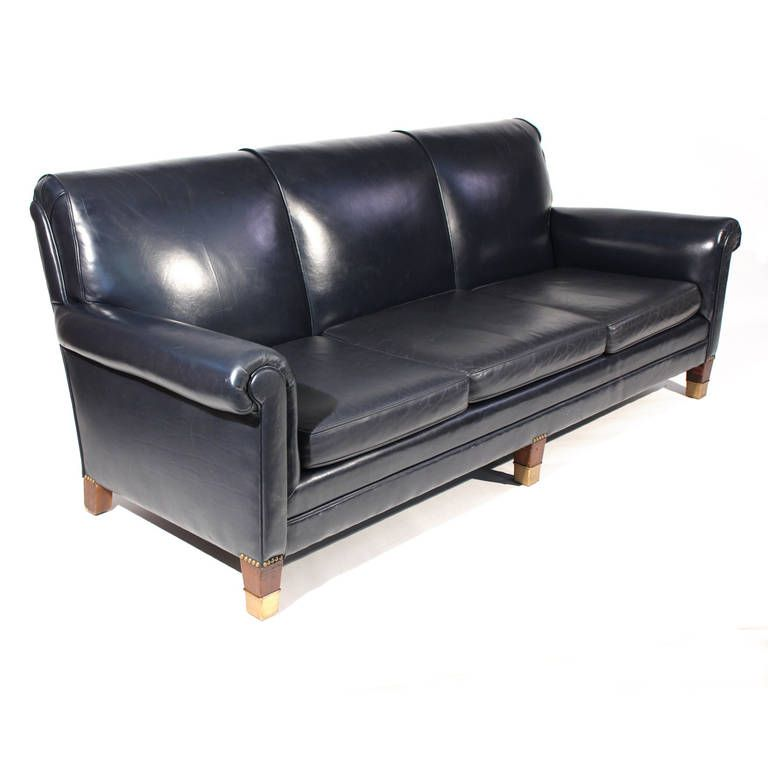 Classic Navy Blue Leather Sofa From A Unique Collection Of Antique And Modern Sofas At Https Www 1std With Images Blue Leather Sofa Navy Blue Leather Sofa Leather Sofa