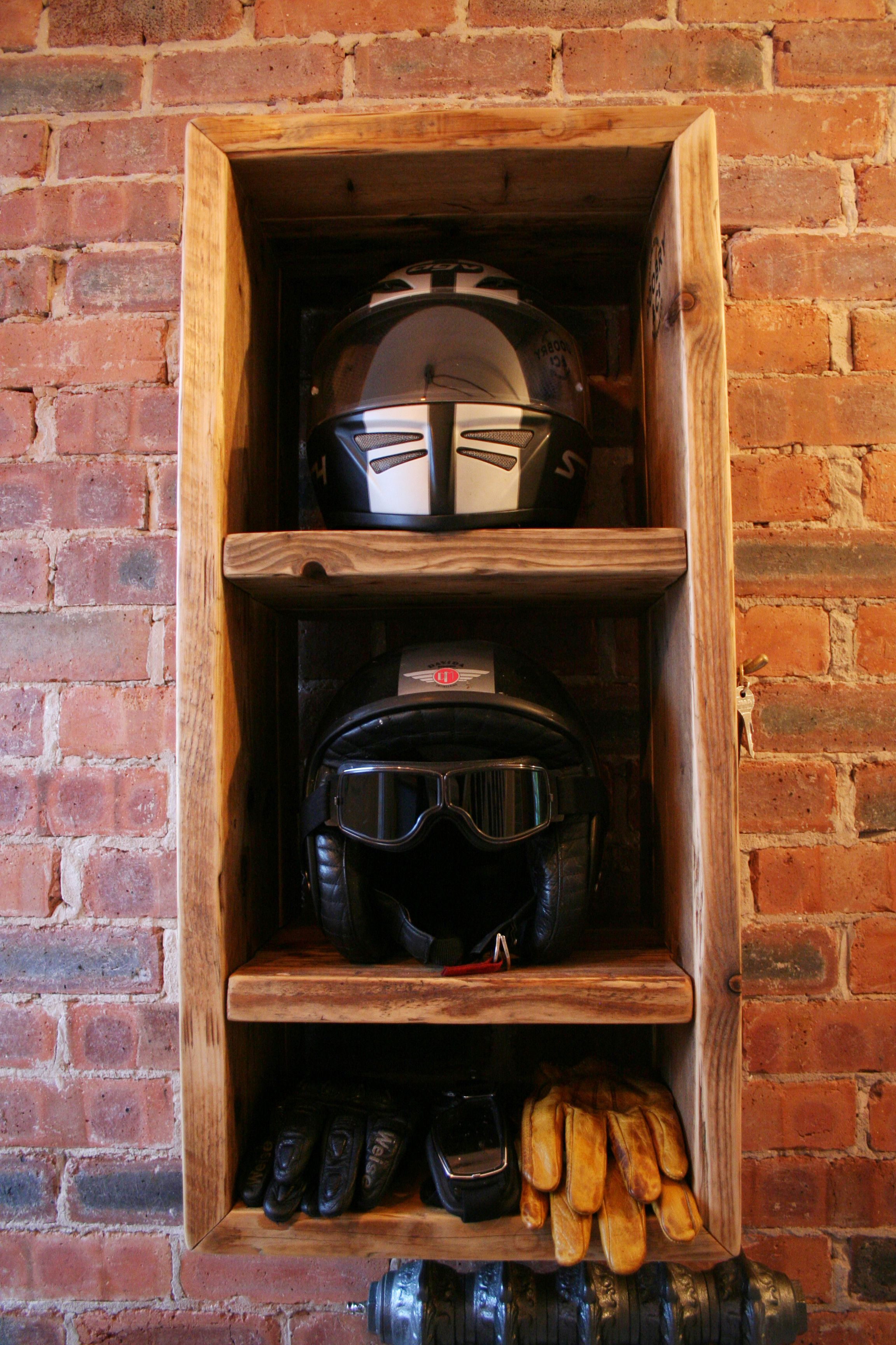 Motorbike Motorcycle helmet storage unit. 2 compartments for helmets, 1 for gloves etc. With antique brass key hooks. Man cave, garage, bike #mancavegarage