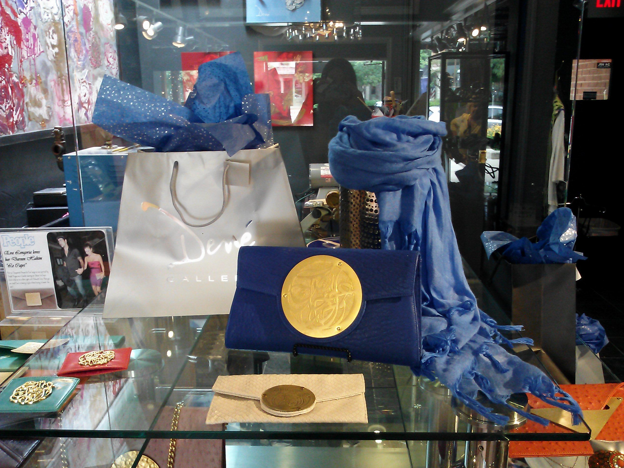 Beauty in Blue! Dareen Hakim artist purses at Dené Gallery. Find out more at Dené Gallery, or shop our artist purses by Dareen Hakim at http://www.geneva-illinois-jeweler.com/#!handbags/c11g4