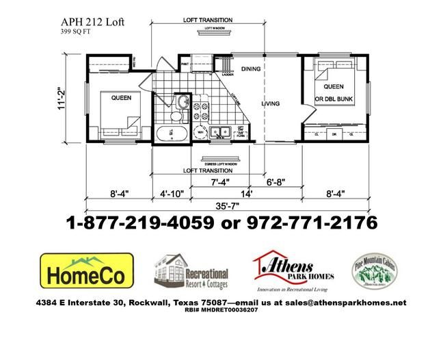 2 bedroom park model home with loft   41454 including delivery and setup. Wyndham Floor Plan    RV Park Model Homes    Texas   Louisiana