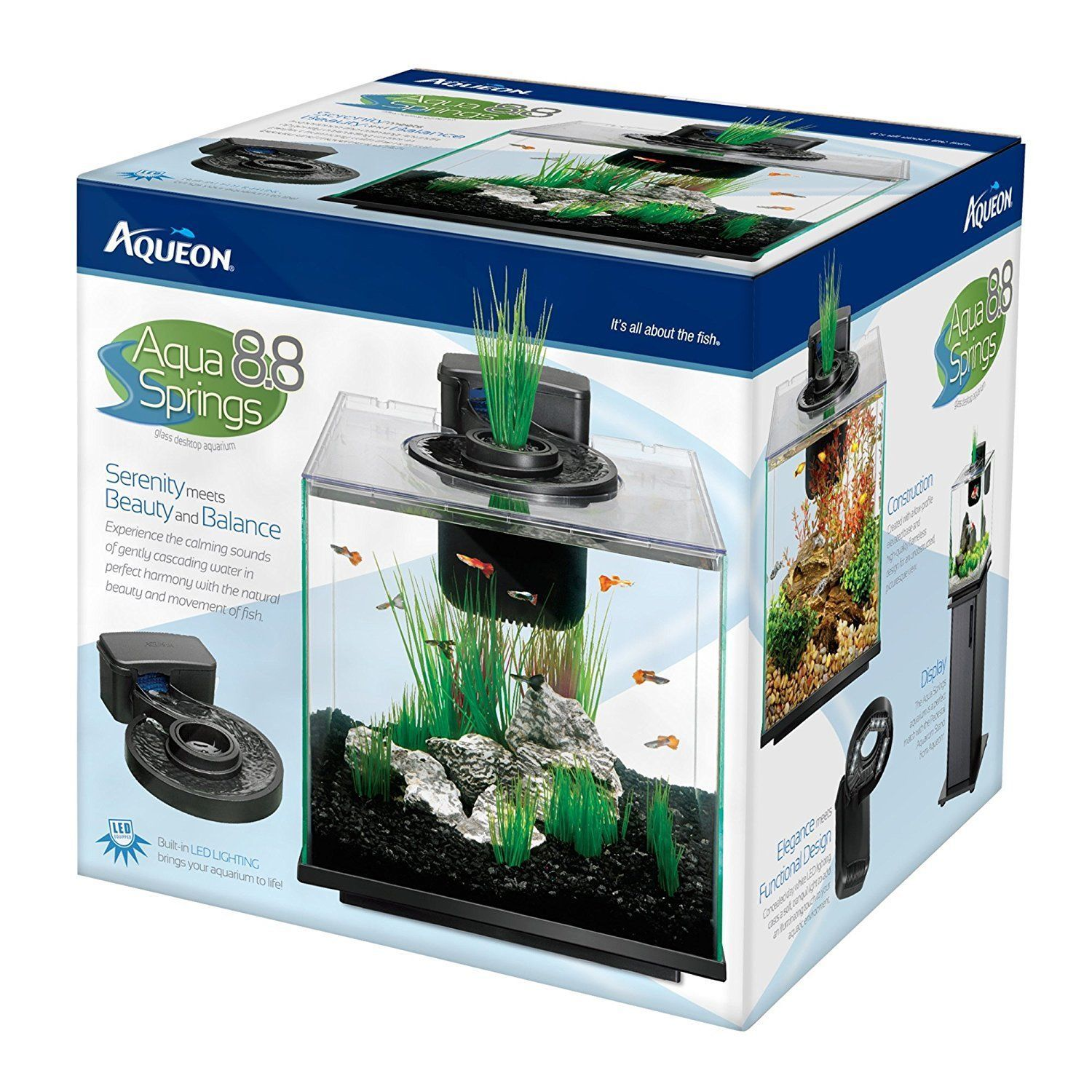 Aqueon LED Aqua Springs Aquarium Fish Tank Starter Kit Size 8 8