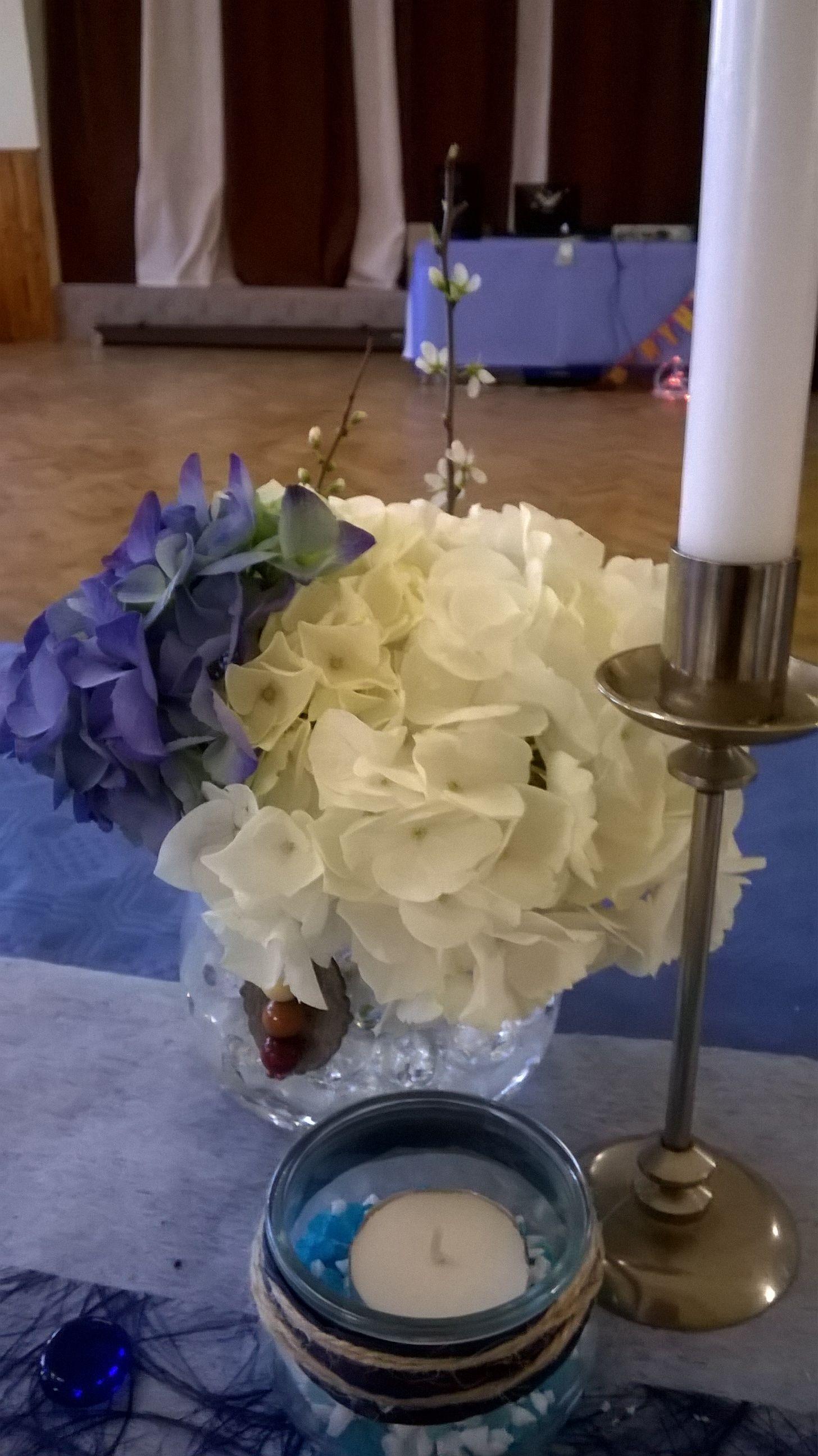 Hortensie blau weiß Aquaperlen Kerzen