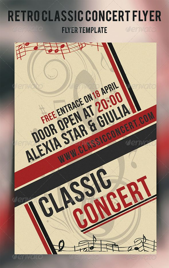 Retro Classic Concert Flyer By Cata05 FlyerFeaturesaEUR20Bleed Size 425625 In12751875 Px AEUR20Standard Cut 46 In12002100