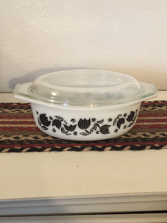 Pyrex Promotional Casserole Dish Black Tulip Pattern Etsy Vintage Patterns