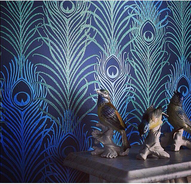 Mathew Williamson Peacock Feather Wallpaper Asian Decor