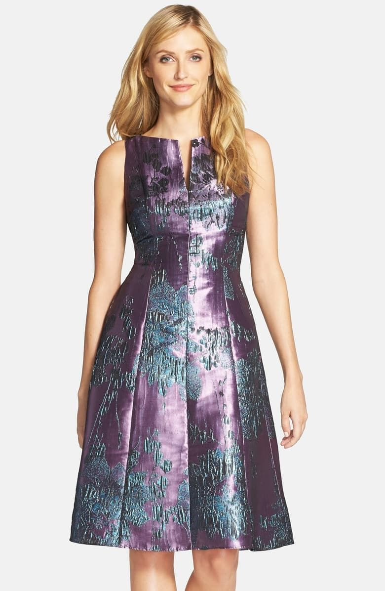 Adrianna Papell Metallic Jacquard Fit & Flare Dress (Regular & Petite) | Nordstrom