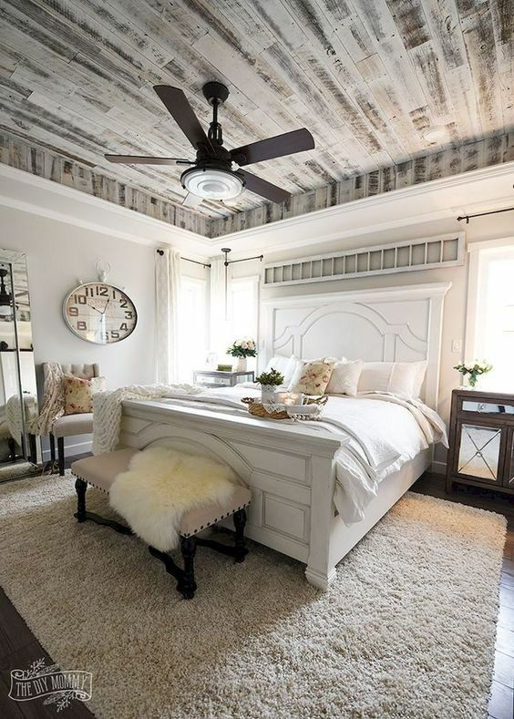 Master bedroom farmhouse modern countrt king size bed Shiplap tray ceiling