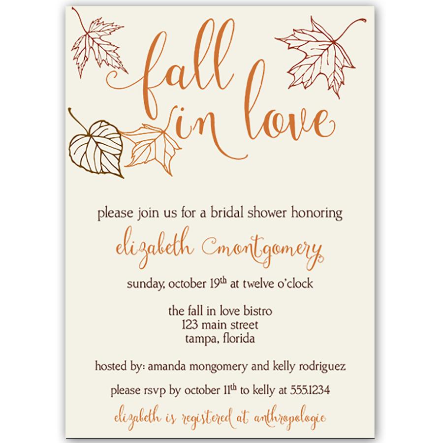 Fall in Love Autumn Orange Bridal Shower Invitation | Bridal showers ...