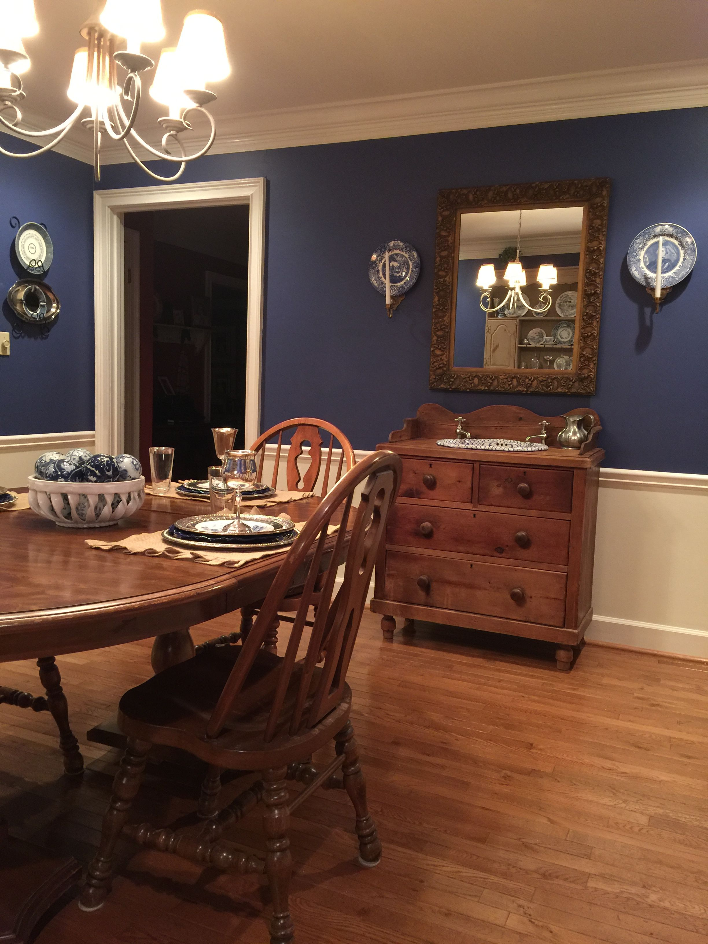 English chest with vintage blue and white sink used in ...