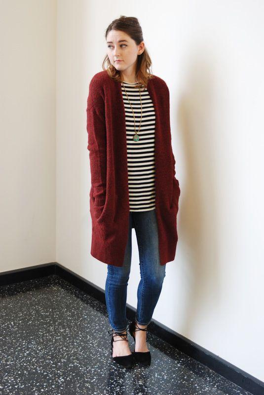 burgundy long cardigan, striped shirt, denim jeans, black lace up ...
