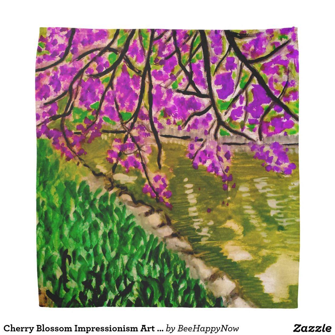 Cherry Blossom Impressionism Art on Bandana