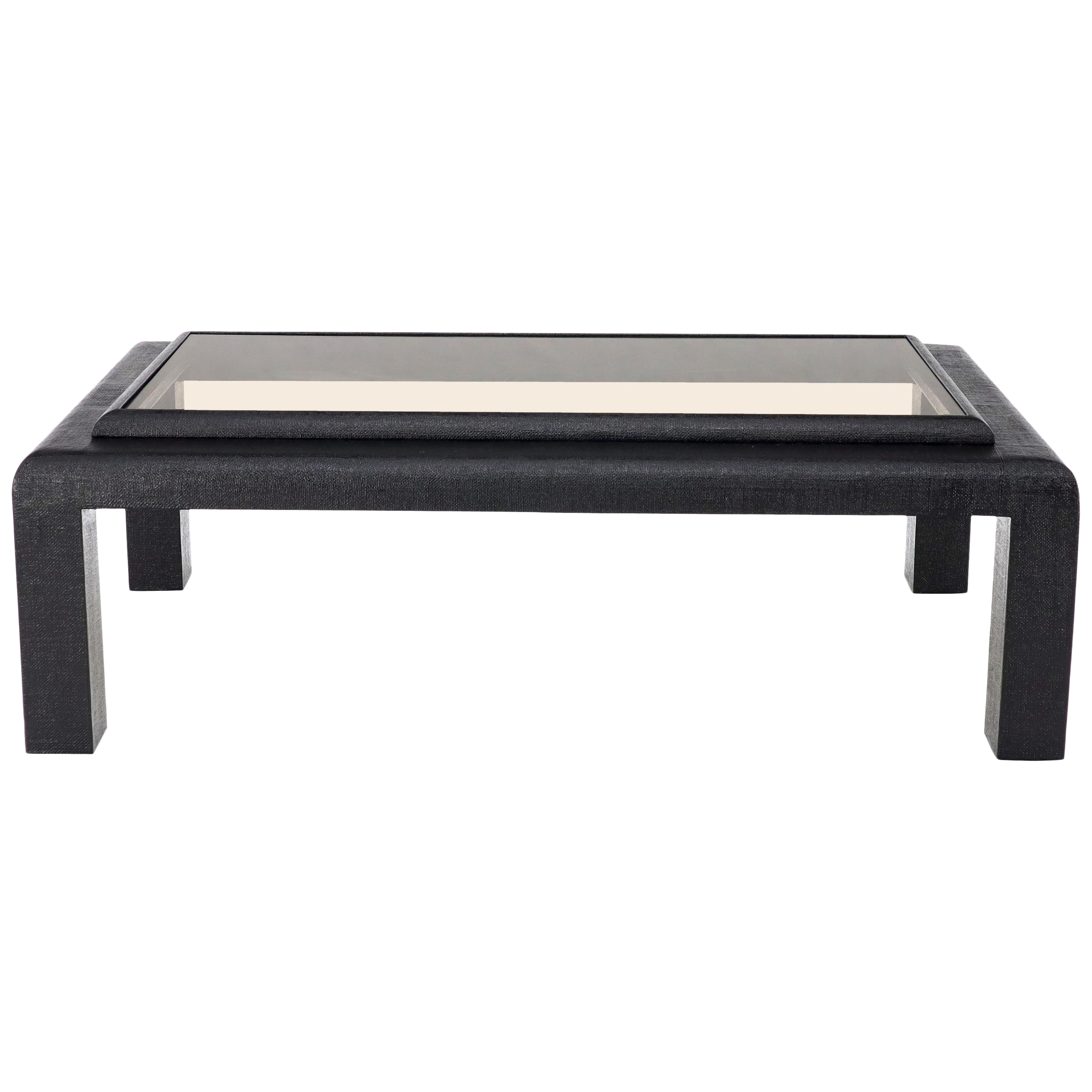 Cloth Wrapped Black Lacquer Glass Top Rectangular Coffee Table Rectangular Coffee Table Coffee Table Cloth Coffee Table [ 2606 x 2606 Pixel ]