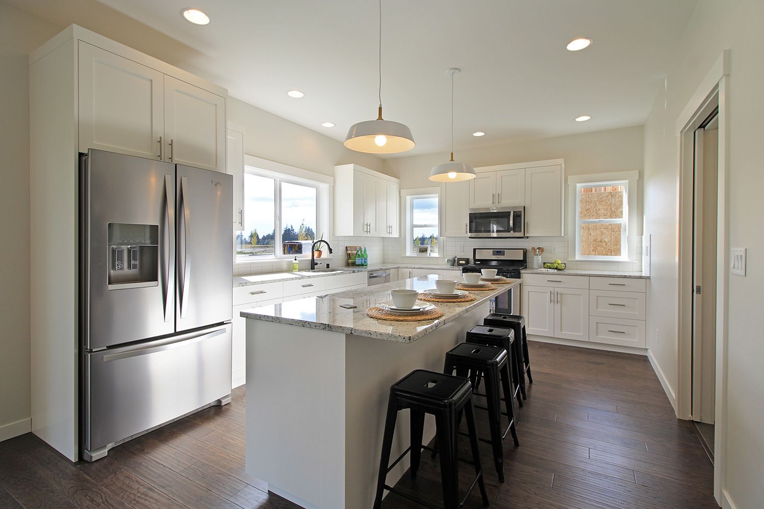 White L Shaped Kitchen With Shaker Cabinets Engineered Wood