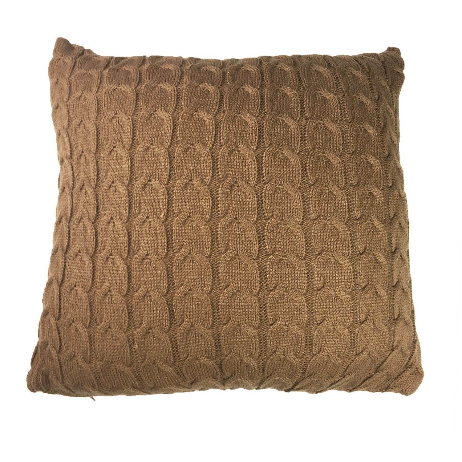 Sanifer doubleside cable knit decorative throw pillow cover for bed