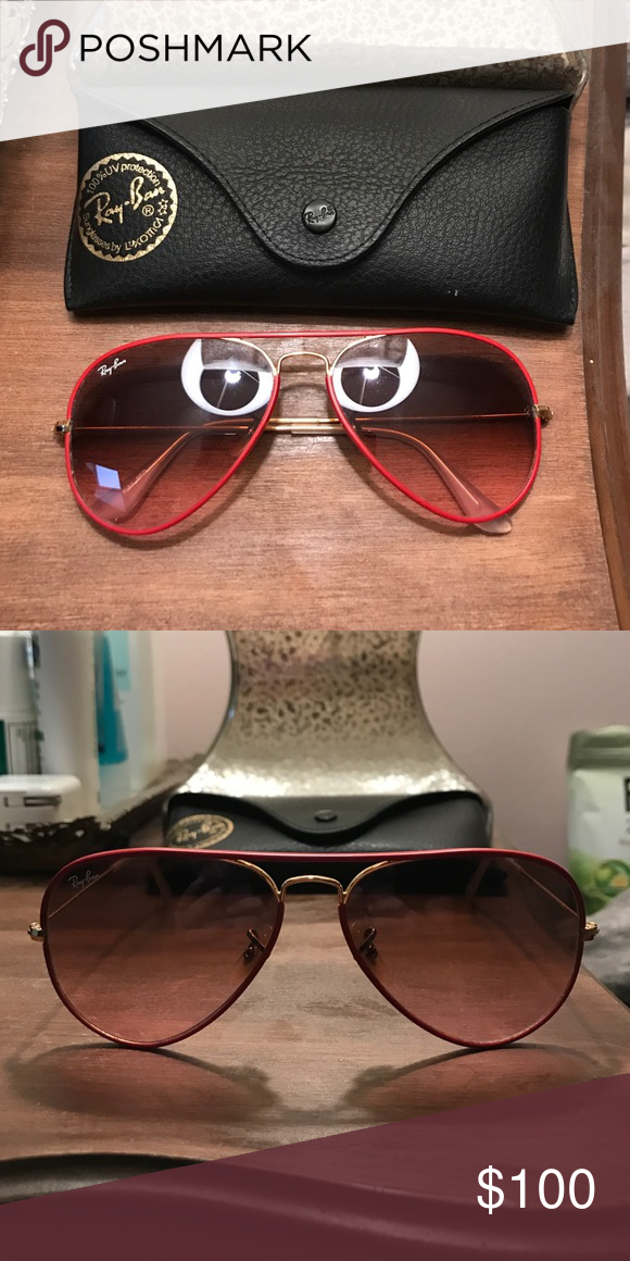 bf26e2f9149 RB3025 Red Frame Aviator Ray Ban sunglass size 58mm. Red frame with gold  metal. Red gradient lens. Not polarized. Comes with a black Ray Ban case.