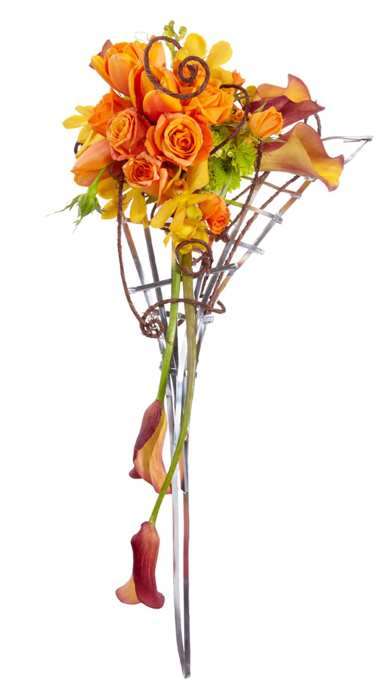 OASIS Flat and Rustic Wire gives this cascading bouquet a modern ...