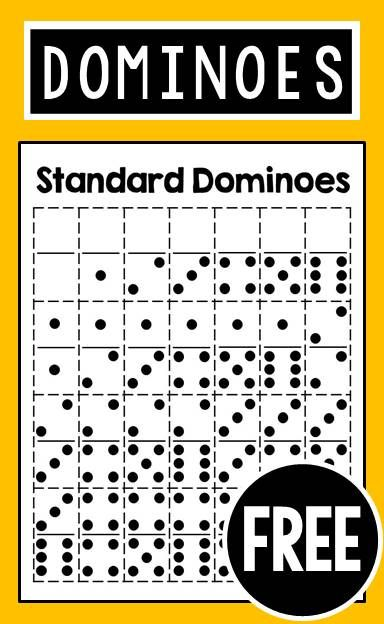 FREE printable dominoes - great for kindergarten, first grade, and second grade math centers or stations