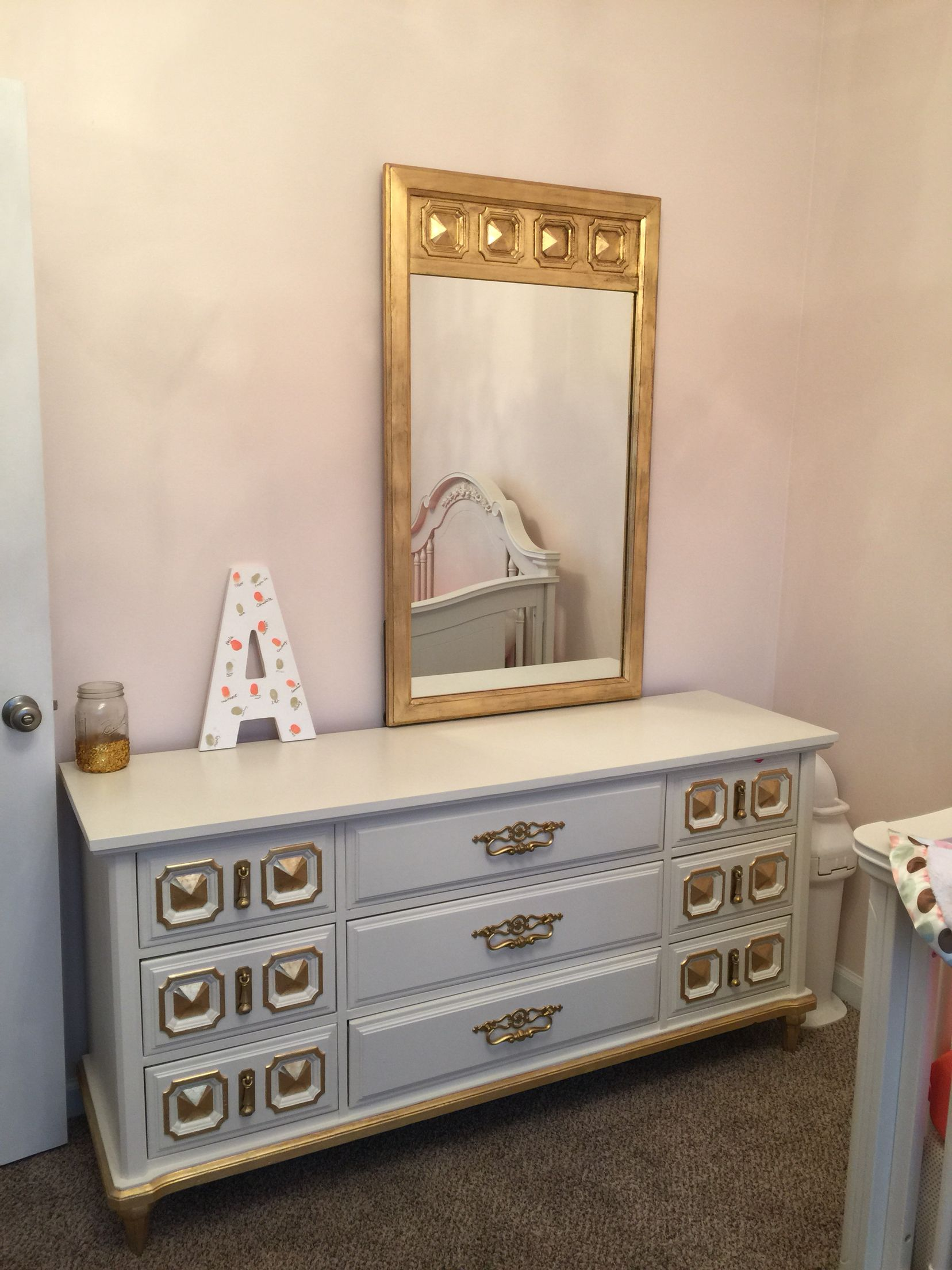 Light Coral Walls Partial Finished Gold And Coral Nursery Refinished Dresser With